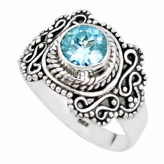 925 sterling silver 1.28cts natural blue topaz solitaire ring size 8 p51320