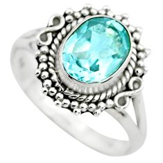 925 sterling silver 3.29cts natural blue topaz solitaire ring size 7.5 p72379