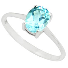 925 sterling silver 1.98cts natural blue topaz solitaire ring size 6.5 p73331