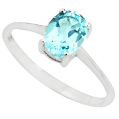 925 sterling silver 1.91cts natural blue topaz solitaire ring size 7.5 p73334