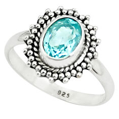 925 sterling silver 1.96cts natural blue topaz solitaire ring size 8 p78951