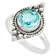 925 sterling silver 3.26cts natural blue topaz solitaire ring size 8.5 p78959