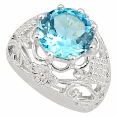 925 sterling silver 6.02cts natural blue topaz solitaire ring size 8 p81694