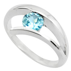 925 sterling silver 0.97cts natural blue topaz solitaire ring size 8.5 p82793
