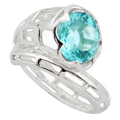 925 sterling silver 5.95cts natural blue topaz solitaire ring size 8.5 p83171