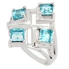 925 sterling silver 2.28cts natural blue topaz square ring jewelry size 6 p81733