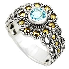 925 sterling silver 0.88cts natural blue topaz swiss marcasite ring size 7 c4154