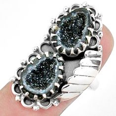 925 sterling silver 12.85cts natural brown geode druzy fancy ring size 8 p42323
