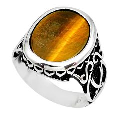 925 sterling silver 8.83cts natural brown tiger's eye mens ring size 7.5 c1088