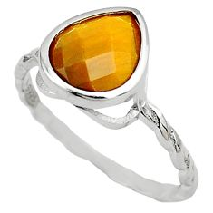 925 sterling silver 2.42cts natural brown tiger's eye pear ring size 6.5 c4194