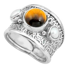 925 sterling silver 4.70cts natural brown tiger's eye pearl ring size 7 p68490