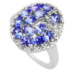 925 sterling silver 5.83cts natural diamond blue tanzanite ring size 7.5 c4284