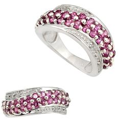 925 sterling silver natural diamond red rhodolite ring jewelry size 4 j11680