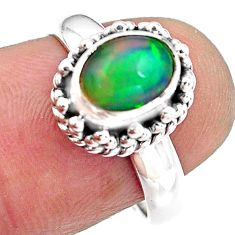 925 sterling silver 2.26cts natural ethiopian opal solitaire ring size 7 p84838
