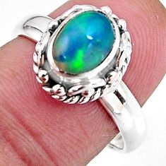 925 sterling silver 2.23cts natural ethiopian opal solitaire ring size 7 p92634