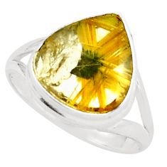 925 sterling silver 7.54cts natural golden half star rutile ring size 8.5 p76039