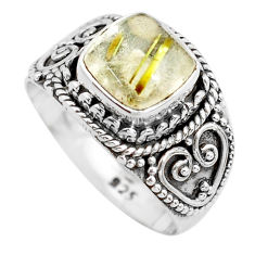 925 sterling silver 3.35cts natural golden rutile solitaire ring size 7.5 p71780