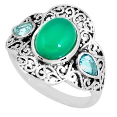 925 sterling silver 5.16cts natural green chalcedony topaz ring size 8 p56078
