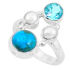 925 sterling silver 7.40cts natural green chrysocolla topaz ring size 8 p52424
