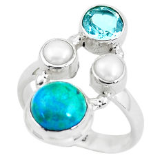 925 sterling silver 7.40cts natural green chrysocolla topaz ring size 7 p52427