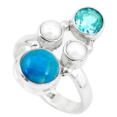 925 sterling silver 7.40cts natural green chrysocolla topaz ring size 7.5 p52433