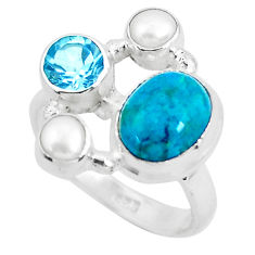 925 sterling silver 7.66cts natural green chrysocolla topaz ring size 8 p52439