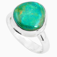 925 sterling silver 6.08cts natural green opaline solitaire ring size 7 p46988