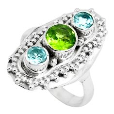 Clearance Sale- 925 sterling silver 2.63cts natural green peridot blue topaz ring size 7 d31397