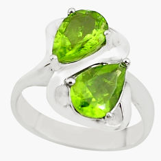 925 sterling silver 5.41cts natural green peridot pear ring size 6.5 p62092