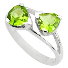 925 sterling silver 2.96cts natural green peridot pear ring size 8.5 p83627