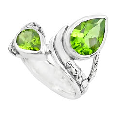 925 sterling silver 5.30cts natural green peridot ring jewelry size 6.5 p62359
