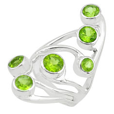 925 sterling silver 4.81cts natural green peridot ring jewelry size 6.5 p62667