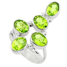 925 sterling silver 7.24cts natural green peridot ring jewelry size 7.5 p77604