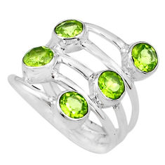 925 sterling silver 4.55cts natural green peridot ring jewelry size 6.5 p77748
