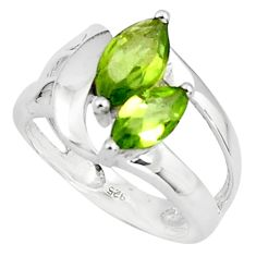 925 sterling silver 5.63cts natural green peridot ring jewelry size 6.5 p81547
