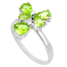 925 sterling silver 4.52cts natural green peridot ring jewelry size 7.5 p82893