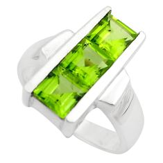 925 sterling silver 3.94cts natural green peridot ring jewelry size 8.5 p83093