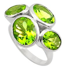925 sterling silver 12.30cts natural green peridot ring jewelry size 7 p83099