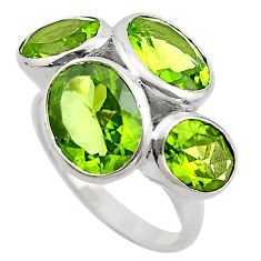 925 sterling silver 13.09cts natural green peridot ring jewelry size 9 p83116