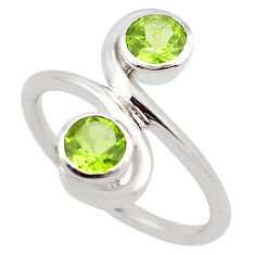 925 sterling silver 1.74cts natural green peridot ring jewelry size 7.5 p83208