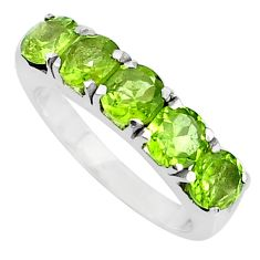 925 sterling silver 4.52cts natural green peridot round ring size 6.5 p82866