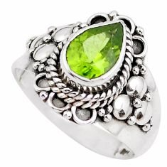925 sterling silver 2.95cts natural green peridot solitaire ring size 7 p51136