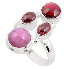 925 sterling silver 7.22cts natural pink kunzite red garnet ring size 7.5 p52604