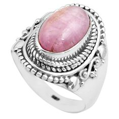 925 sterling silver 4.21cts natural pink kunzite solitaire ring size 7.5 p81268