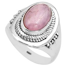 925 sterling silver 4.71cts natural pink kunzite solitaire ring size 8.5 p81274