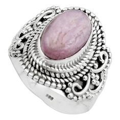 925 sterling silver 4.53cts natural pink kunzite solitaire ring size 8.5 p88844
