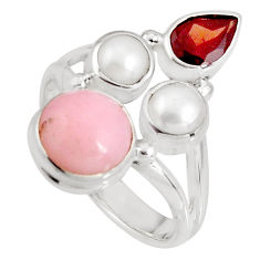 925 sterling silver 6.53cts natural pink opal garnet pearl ring size 7.5 p90834