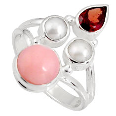 925 sterling silver 7.12cts natural pink opal garnet pearl ring size 8.5 p90840
