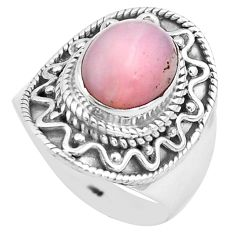 925 sterling silver 4.21cts natural pink opal oval solitaire ring size 7 p81257