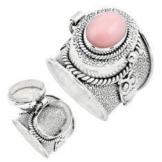 925 sterling silver 4.16cts natural pink opal poison box ring size 6.5 p75626